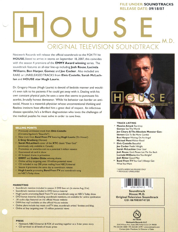 House m d guide soundtrack available september 18 for House md music